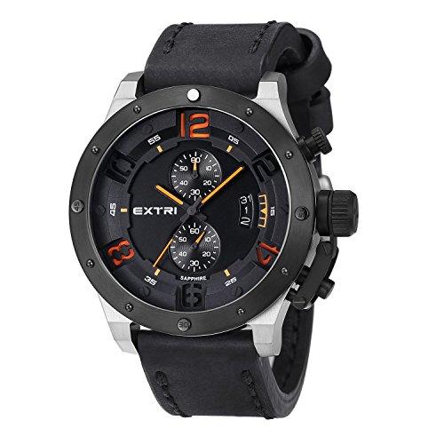 Extri Herren Armbanduhr Chronograph Quarz Leder X3005F