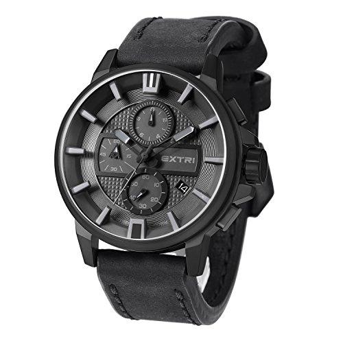 Extri Herren Armbanduhr Chronograph Quarz Leder X3009C