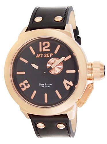 Jet Set j1142r 267 San Remo Armbanduhr Quarz Analog Zifferblatt schwarz Armband Leder schwarz