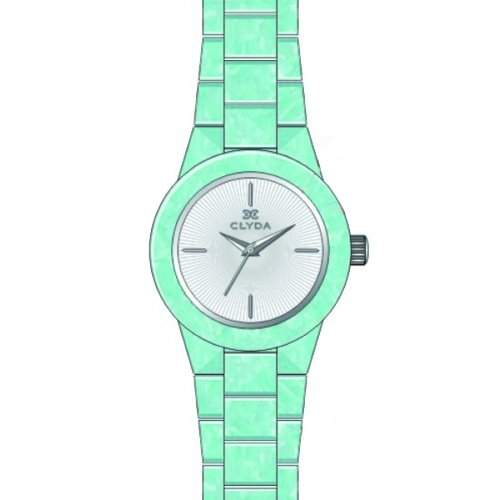 Clyda Damen-Armbanduhr 34mm Armband Plastik Gruen + Gehaeuse Quarz Zifferblatt Weiss Analog CLA0520STIX