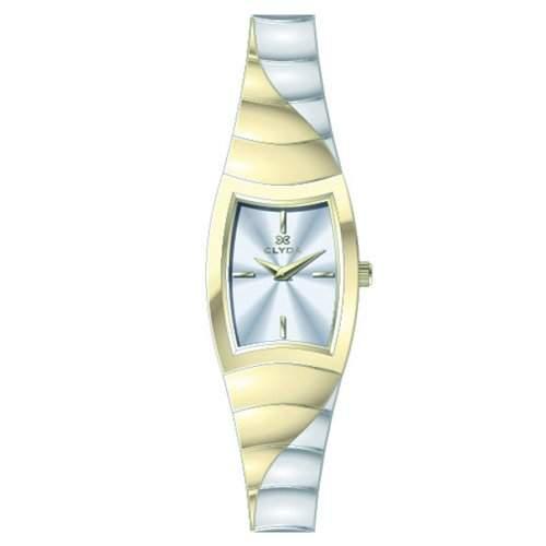 Clyda CLG0123BBIW Damen-Armbanduhr 045J699Analog weiss Armband Stahl zweifarbig