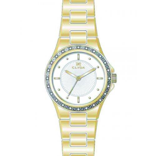 Clyda cla0615paix Damen Armbanduhr 045J699 Analog weiss Armband Metall gold