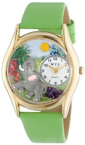 Whimsical Watches Unisex-Armbanduhr Elephant Green Leather And Goldtone Watch #C0150013 Analog Leder mehrfarbig C-0150013