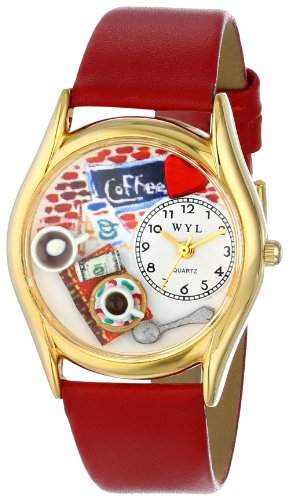 Whimsical Watches Unisex-Armbanduhr Coffee Lover Red Leather And Goldtone Watch #C0310011 Analog Leder mehrfarbig C-0310011