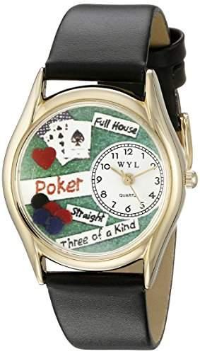 Skurril Uhren Poker schwarz Leder und goldfarbenes Unisex Quarzuhr mit weissem Zifferblatt Analog-Anzeige und-Lederband c-0430003