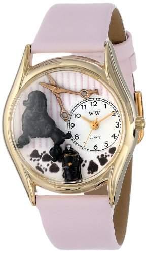 Whimsical Watches Unisex-Armbanduhr Dog Groomer Pink Leather And Goldtone Watch #C0630005 Analog Leder mehrfarbig C-0630005
