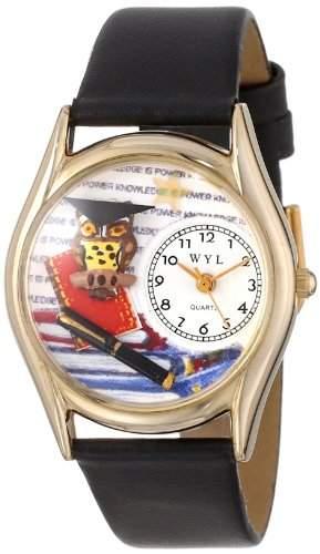 Whimsical Watches Unisex-Armbanduhr Knowledge Is Power Black Leather And Goldtone Watch #C0640006 Analog Leder mehrfarbig C-0640006