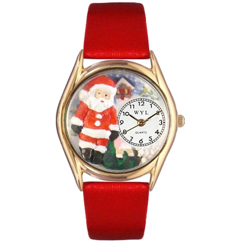 Skurril Uhren Weihnachten Santa Claus rot Leder und goldfarbenes Unisex Quarzuhr mit weissem Zifferblatt Analog-Anzeige und-Lederband c-1221001