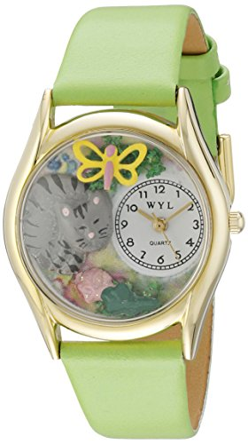 Drollige Uhren Cat Nap gruen Leder und goldfarbener Unisex Armbanduhr Analog Leder C 0120010