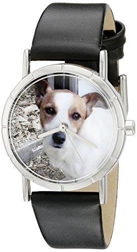 Drollige Uhren Jack Russel Schwarz silberfarben Unisex Armbanduhr Analog Leder R 0130048