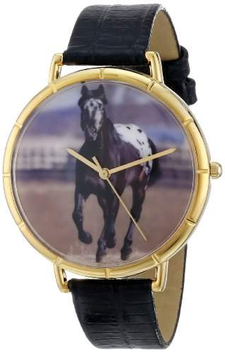 Whimsical Watches Unisex-Armbanduhr Appaloosa Horse Black Leather And Goldtone Photo Watch #N0110022 Analog Leder mehrfarbig N-0110022