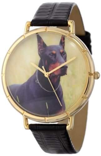 Whimsical Watches Unisex-Armbanduhr Doberman Black Leather And Goldtone Photo Watch #N0130035 Analog Leder mehrfarbig N-0130035