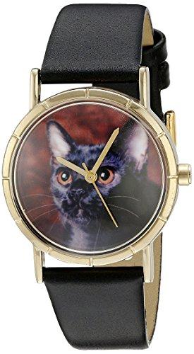 Skurril Uhren Bombay Cat schwarzem Leder und goldfarbenes Foto Unisex Quarzuhr mit weissem Zifferblatt Analog Anzeige und Lederband p 0120037