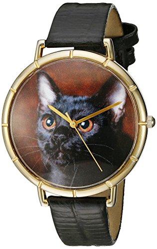 Skurril Uhren Bombay Cat schwarzem Leder und goldfarbenes Foto Unisex Quarzuhr mit weissem Zifferblatt Analog Anzeige und Lederband n 0120037