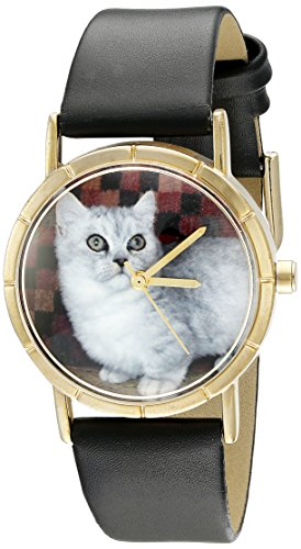 Skurril Uhren Munchkin Cat schwarzem Leder und goldfarbenes Foto Unisex Quarzuhr mit weissem Zifferblatt Analog Anzeige und Lederband p 0120047