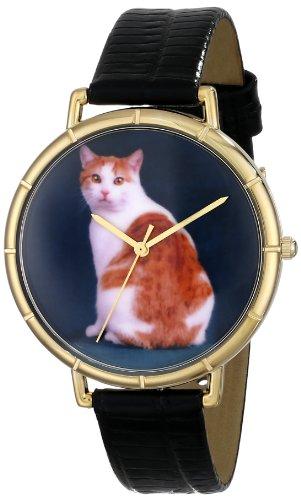 Skurril Uhren Manx Cat schwarzem Leder und goldfarbenes Foto Unisex Quarzuhr mit weissem Zifferblatt Analog Anzeige und Lederband n 0120045