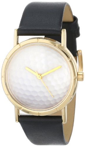 Skurril Uhren Golf lover schwarzem Leder und goldfarbenes Foto Unisex Quarzuhr mit weissem Zifferblatt Analog Anzeige und Lederband p 0840009