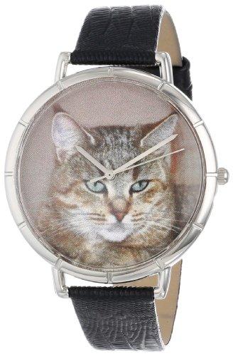 Skurril Uhren Pixie Bob Cat schwarzem Leder und Silvertone Foto Unisex Quarzuhr mit weissem Zifferblatt Analog Anzeige und Lederband t 0120053
