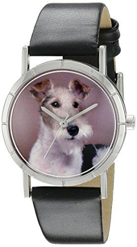 Skurril Uhren Fox Terrier schwarzem Leder und Silvertone Foto Unisex Quarzuhr mit weissem Zifferblatt Analog Anzeige und Lederband r 0130039