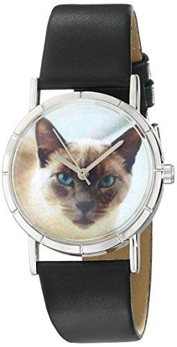 Skurril Uhren Siamese Cat schwarzem Leder und Silvertone Foto Unisex Quarzuhr mit weissem Zifferblatt Analog Anzeige und Lederband r 0120055