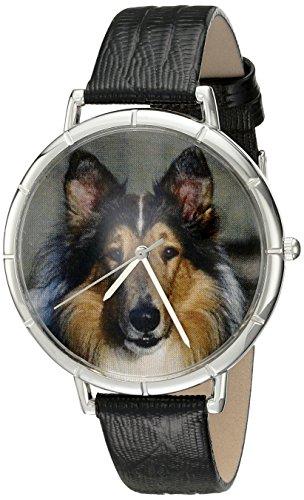 Skurril Uhren Collie schwarzem Leder und Silvertone Foto Unisex Quarzuhr mit weissem Zifferblatt Analog Anzeige und Lederband t 0130004