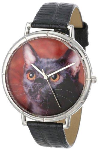 Skurril Uhren Bombay Cat schwarzem Leder und Silvertone Foto Unisex Quarzuhr mit weissem Zifferblatt Analog Anzeige und Lederband t 0120037
