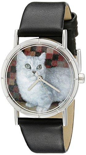 Skurril Uhren Munchkin Cat schwarzem Leder und Silvertone Foto Unisex Quarzuhr mit weissem Zifferblatt Analog Anzeige und Lederband r 0120047