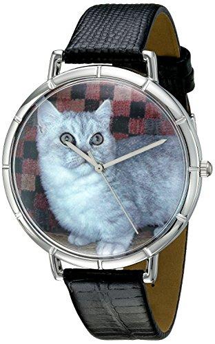 Skurril Uhren Munchkin Cat schwarzem Leder und Silvertone Foto Unisex Quarzuhr mit weissem Zifferblatt Analog Anzeige und Lederband t 0120047