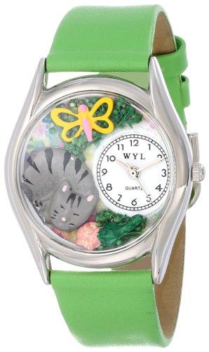 Drollige Uhren Cat Nap gruen Leder Silvertone Unisex Quartz Uhr mit weissem Zifferblatt Analog Anzeige und S 0120010 Mehrfarbige Lederband