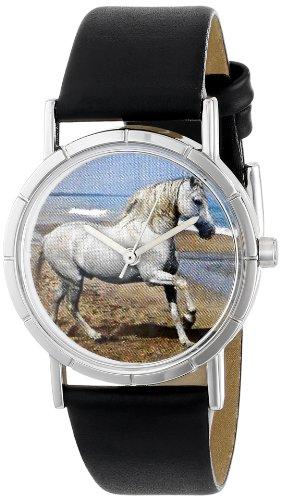 Drollige Uhren Appaloosa Foto schwarz Leder Silvertone Unisex Quartz Uhr mit weissem Zifferblatt Analog Anzeige und R 0110022 Mehrfarbige Lederband