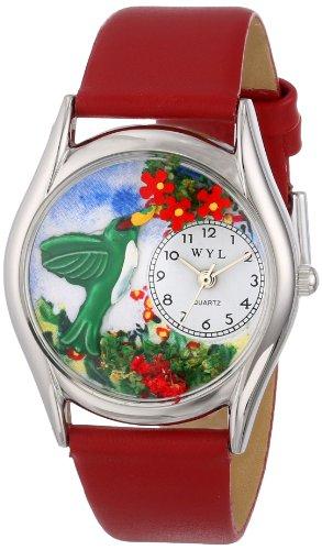 Drollige Uhren Colibri Rot Leder Silvertone Unisex Quartz Uhr mit weissem Zifferblatt Analog Anzeige und S 1210003 Mehrfarbige Lederband