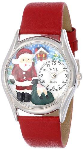 Drollige Uhren Christmas Santa Claus rot Leder Silvertone Unisex Quartz Uhr mit weissem Zifferblatt Analog Anzeige und S 1221001 Mehrfarbige Lederband