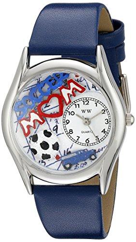 Skurril Uhren Mama Royal Blau Leder und Silvertone Unisex Quarzuhr mit weissem Zifferblatt Analog Anzeige und Lederband s 1010002