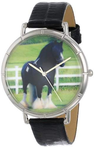 Whimsical Watches Unisex-Armbanduhr Gypsy Vanner Horse Black Leather And Silvertone Photo Watch #T0110026 Analog Leder mehrfarbig T-0110026