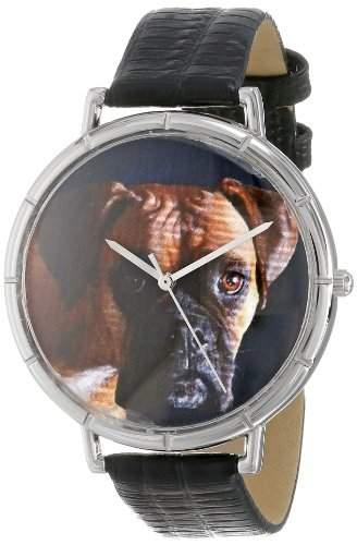 Whimsical Watches Unisex-Armbanduhr Boxer Black Leather And Silvertone Photo Watch #T0130014 Analog Leder mehrfarbig T-0130014
