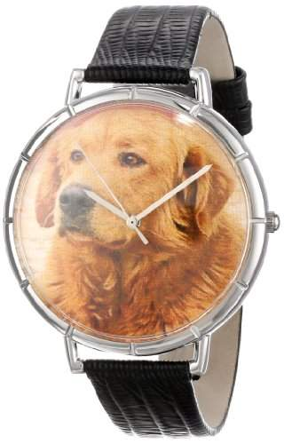 Whimsical Watches Unisex-Armbanduhr Golden Retriever Black Leather And Silvertone Photo Watch #T0130042 Analog Leder Mehrfarbig T-0130042