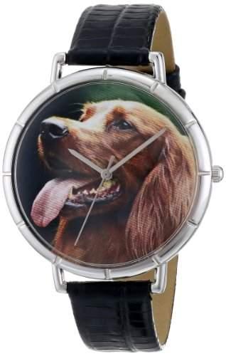Whimsical Watches Unisex-Armbanduhr Irish Setter Black Leather And Silvertone Photo Watch #T0130047 Analog Leder mehrfarbig T-0130047