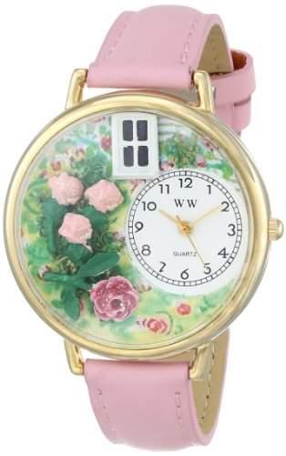 Whimsical Watches Unisex-Armbanduhr Roses Pink Leather And Goldtone Watch #G1210005 Analog Leder mehrfarbig G-1210005