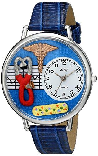 Whimsical Watches Uhr Krankenschwester blau silber Damen Quarzuhr mit weissem Zifferblatt und Analog Anzeige blaues Lederband
