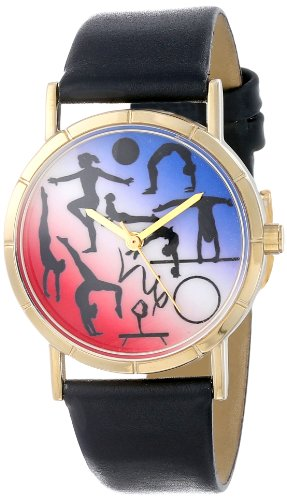 Whimsical Watches Unisex Armbanduhr Gymnastics Lover Black Leather And Goldtone Photo Watch P0840024 Analog Leder mehrfarbig P 0840024
