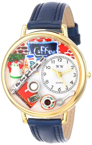 Whimsical Watches Unisex Armbanduhr Coffee Lover Navy Blue Leather And Goldtone Watch G0310006 Analog Leder Mehrfarbig G 0310006