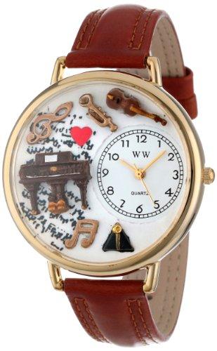 Whimsical Watches Unisex Armbanduhr Music Piano Tan Leather And Goldtone Watch G0510007 Analog Leder Mehrfarbig G 0510007
