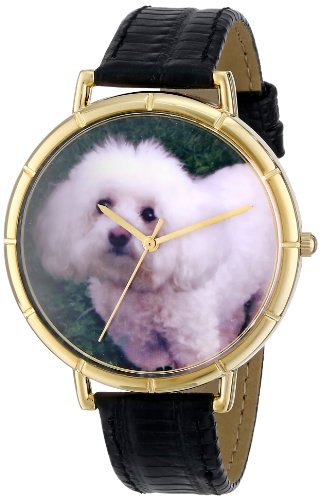 Whimsical Watches Unisex Armbanduhr Bichon Black Leather And Goldtone Photo Watch N0130010 Analog Leder mehrfarbig N 0130010