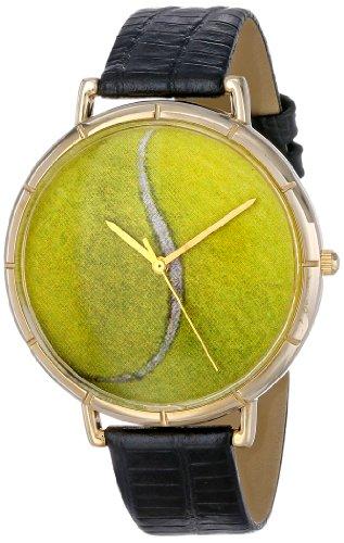 Whimsical Watches Unisex Armbanduhr Tennis Lover Black Leather And Goldtone Photo Watch N0840011 Analog Leder mehrfarbig N 0840011