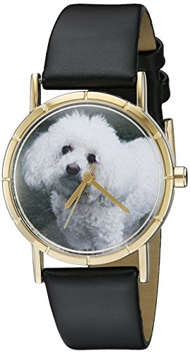 Whimsical Watches Unisex Armbanduhr Bichon Black Leather And Goldtone Photo Watch P0130010 Analog Leder mehrfarbig P 0130010