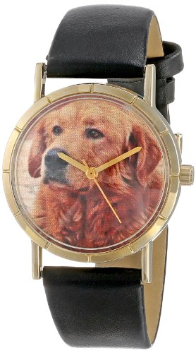 Whimsical Watches Unisex Armbanduhr Golden Retriever Black Leather And Goldtone Photo Watch P0130042 Analog Leder mehrfarbig P 0130042