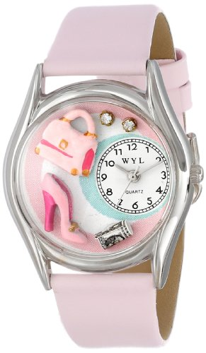 Whimsical Watches Unisex Armbanduhr Shopper Mom Pink Leather And Silvertone Watch S1010007 Analog Leder mehrfarbig S 1010007