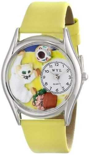 Skurril Uhren Bad Cat Gelb Leder Und Silvertone Unisex Quarzuhr mit weissem Zifferblatt Analog-Anzeige und-Lederband s-0120008