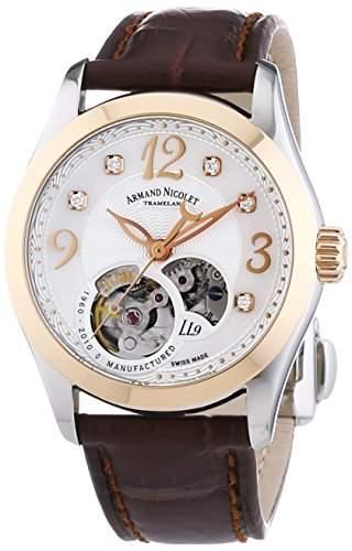 Armand Nicolet Damen Automatik Uhr mit weissem Zifferblatt Analog-Anzeige und braunem Lederband 8653a-an-p953mr8