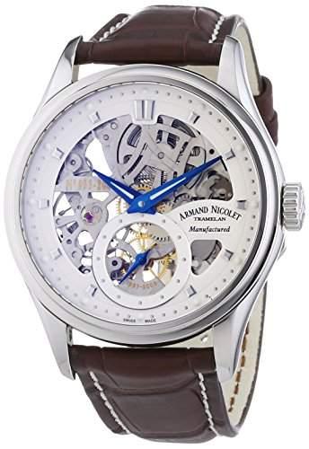 Armand Nicolet Herren Mechanische Uhr mit Silber Zifferblatt Analog-Anzeige und braunem Lederband 9620s-ag-p713mr2